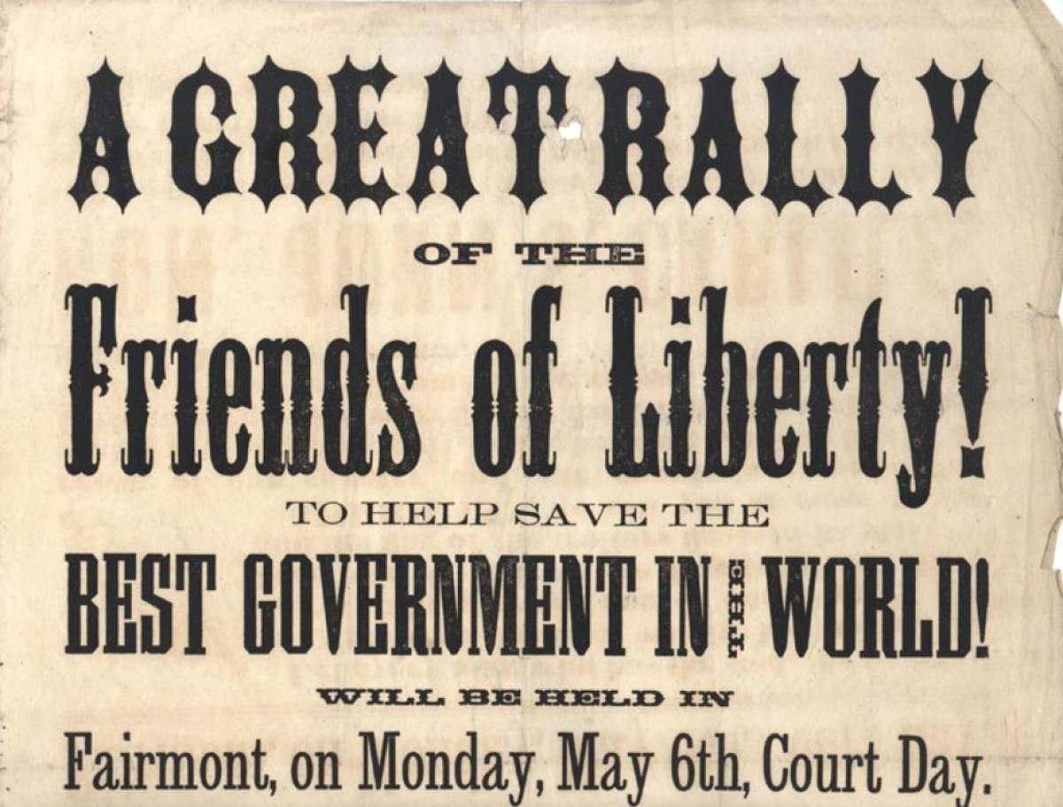 A poster calls for a rally in the New England town of Fairmont