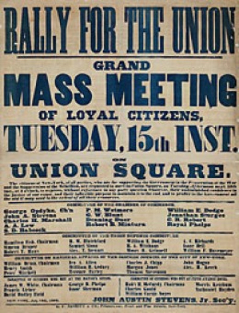 A poster calls for a mass meeting at Union Square in the City of New York, NY