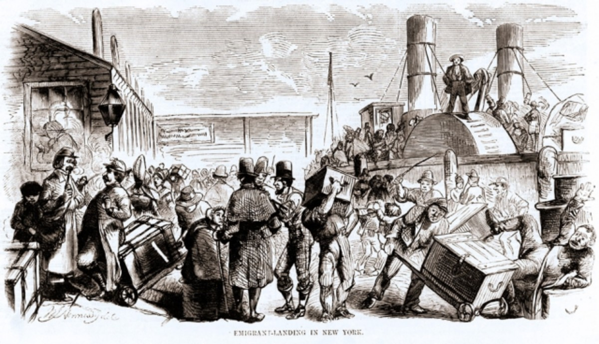 Illustration of immigrants as they land in New York