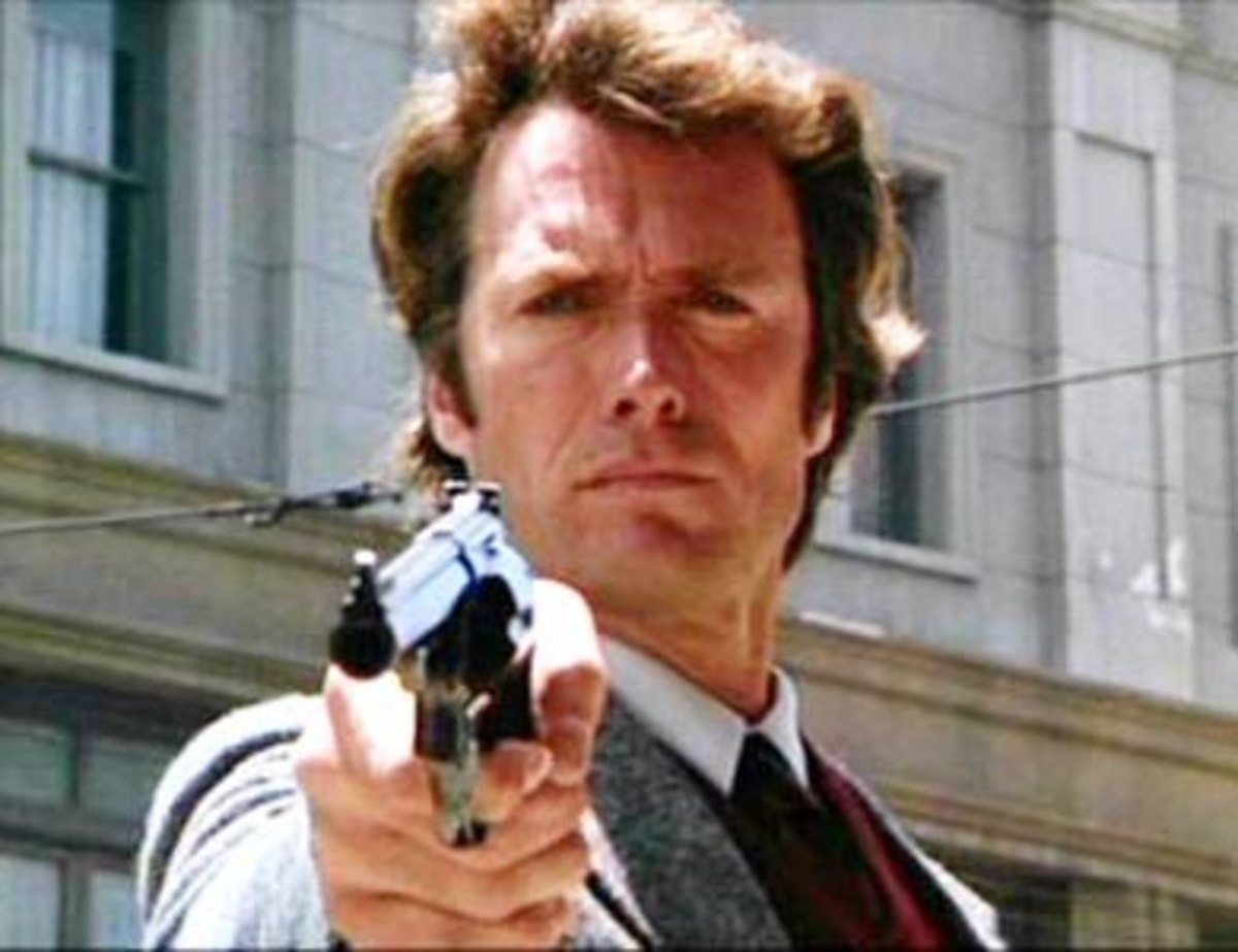 Clint Eastwood in movie as Dirty Harry.