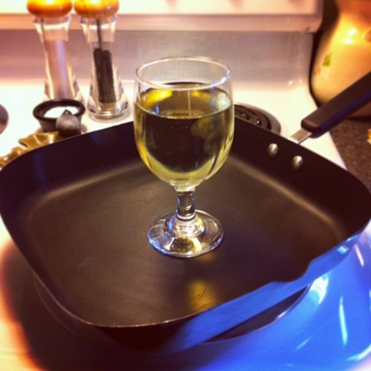 A nice glass of Chardonnay to make things a little more enjoyable.