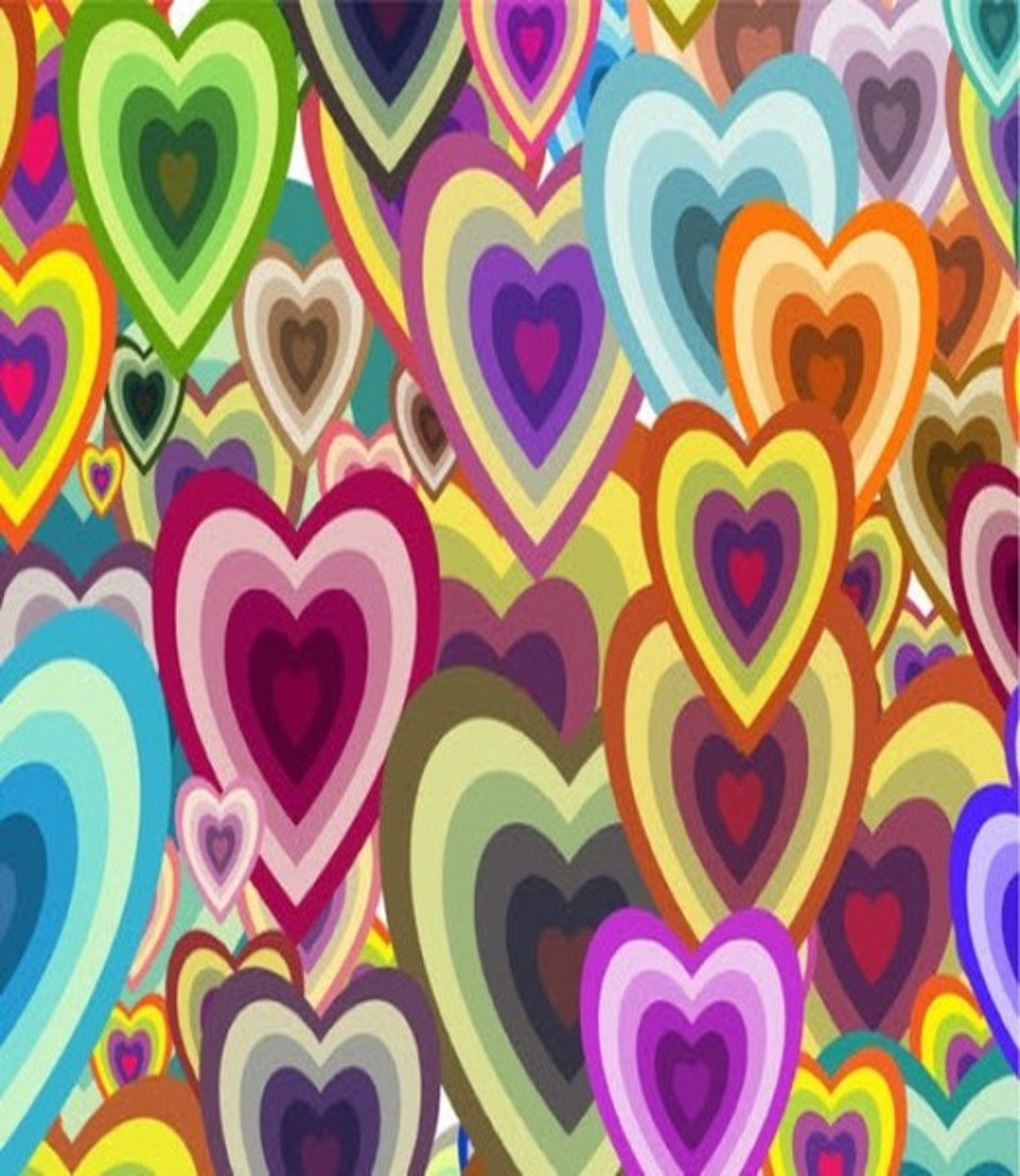 Collage of Hearts Wallpaper