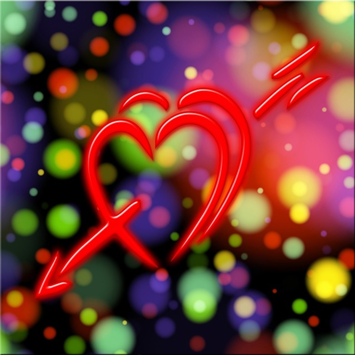 Double Hearts with Arrow Picture