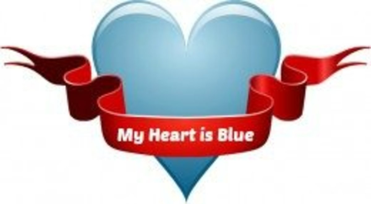 Heart with Message 'My Heart is Blue'