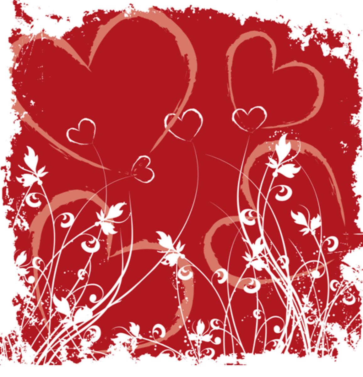 Drawing of Hearts Wallpaper