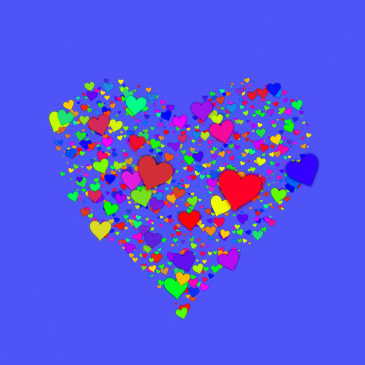 Hearts on Blue Background Picture