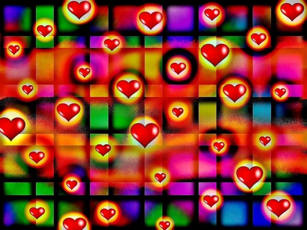 Hearts in Geometric Pattern