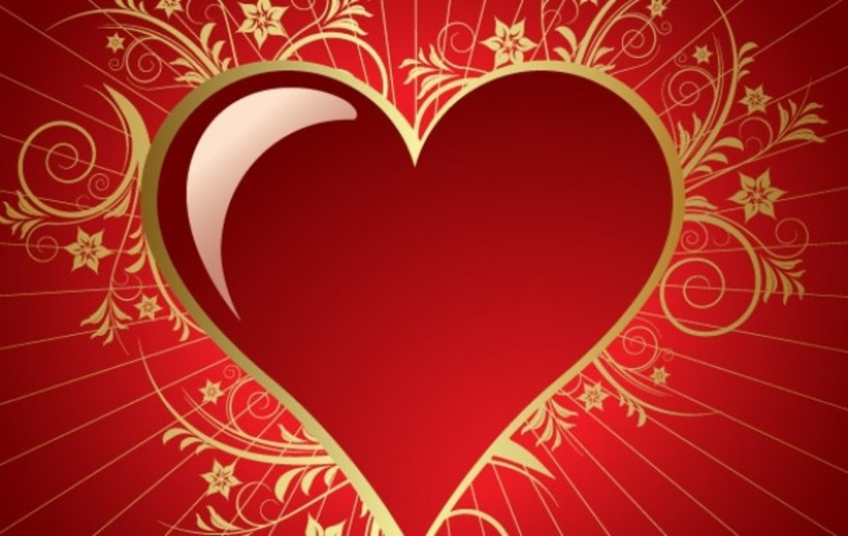 Red Heart with Golden Scrolling