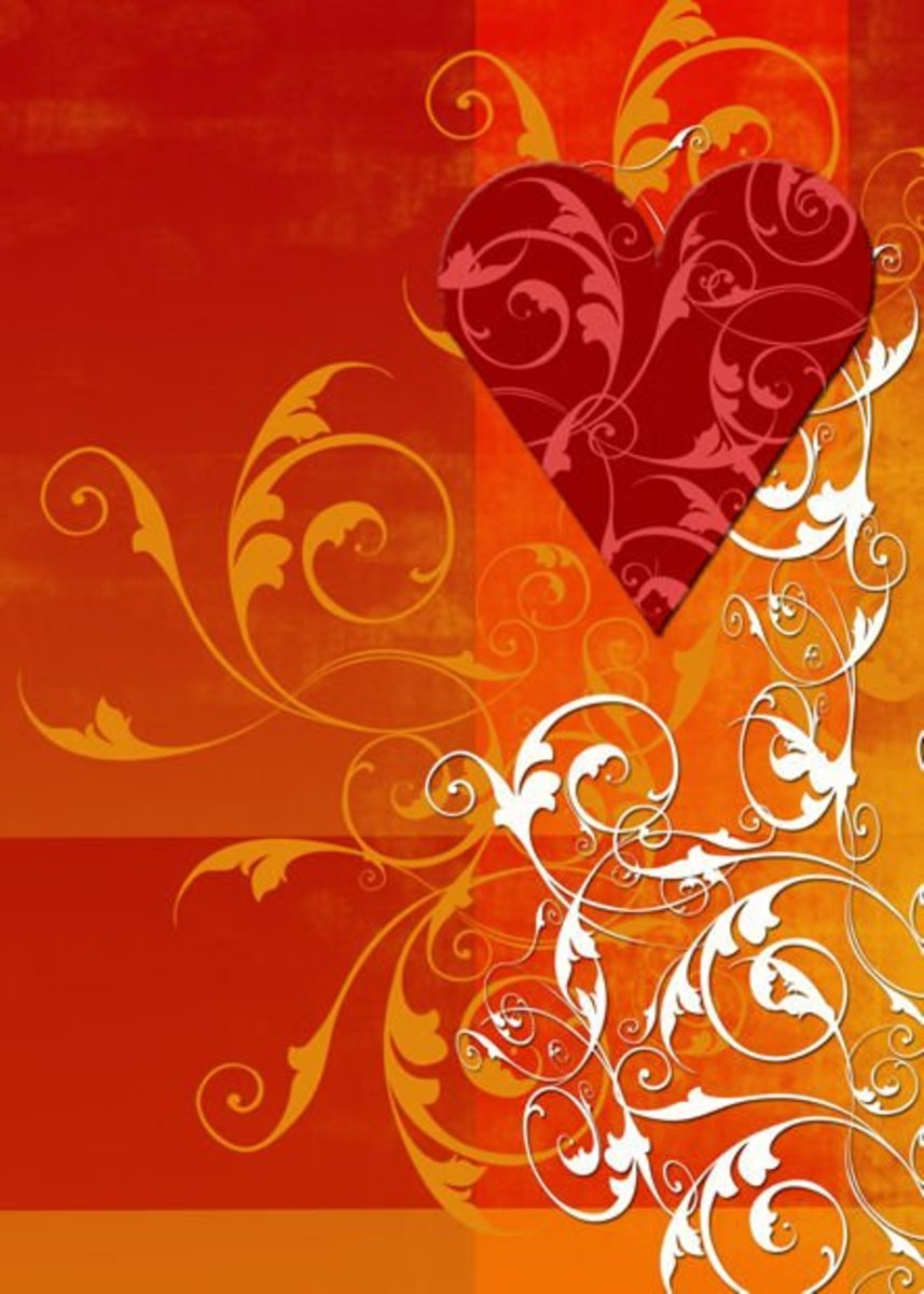 Red Heart on Orange Background Pic