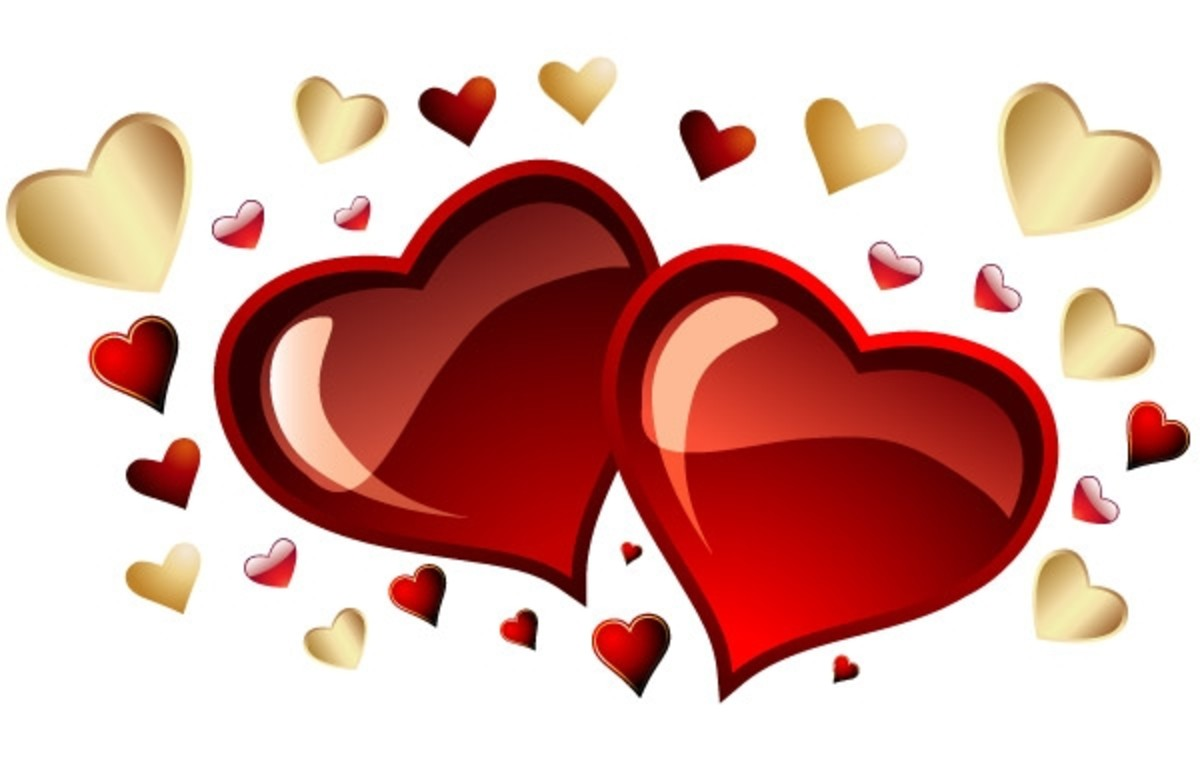 Red and Gold Hearts Picture
