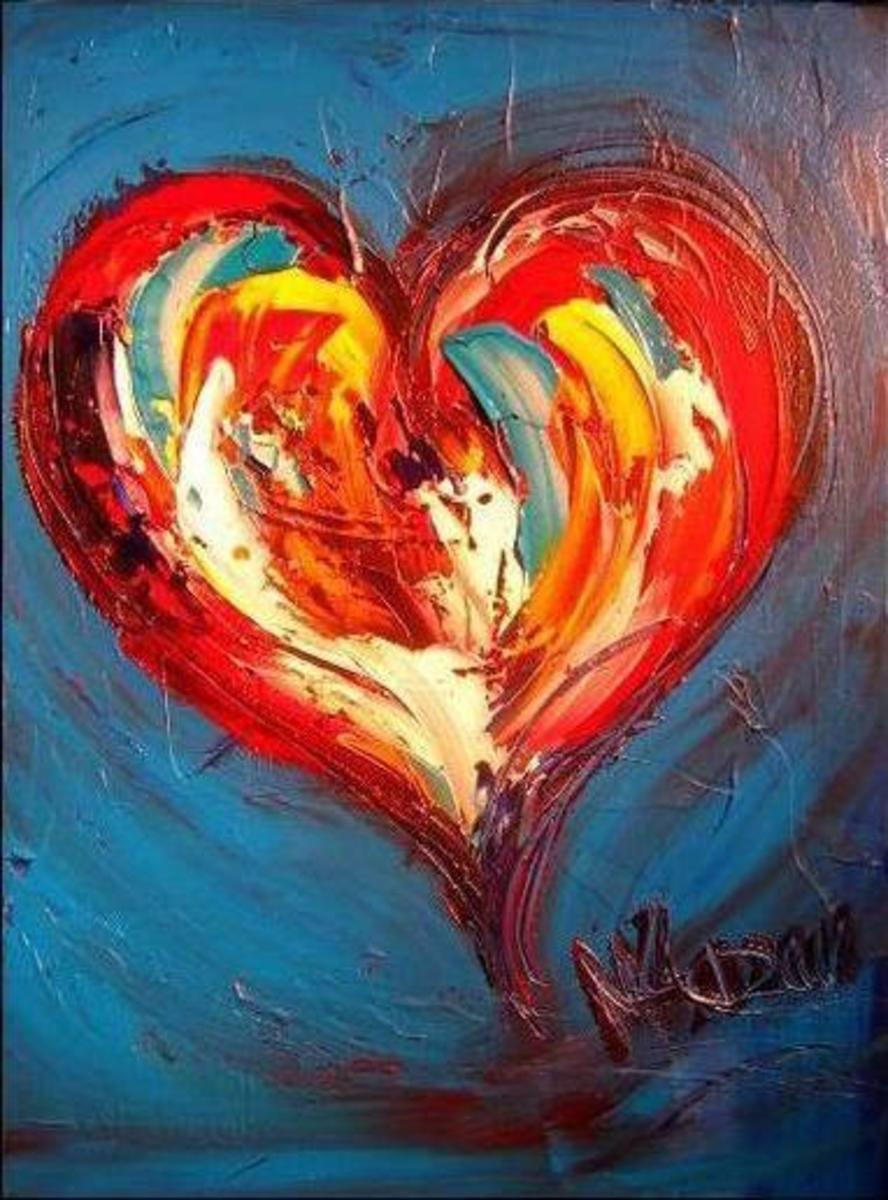Heart on Blue Modern Abstract Oil Painting