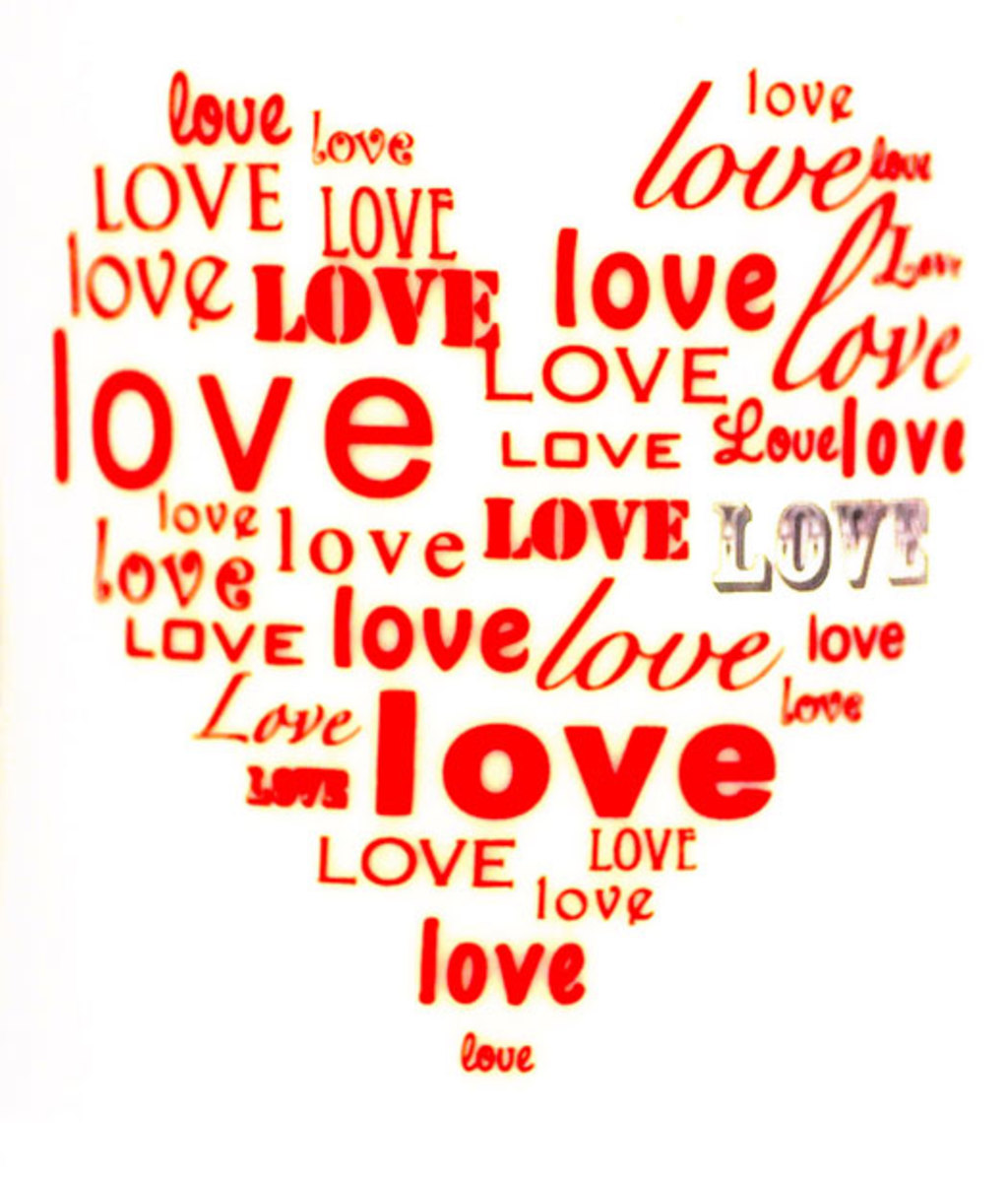 Heart Made of Love Word Graphic
