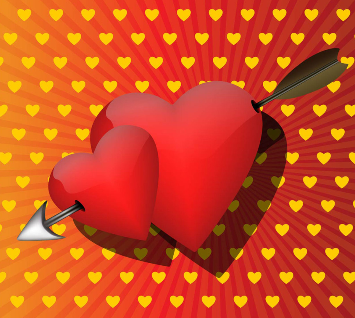 Red Hearts with Arrow Picture