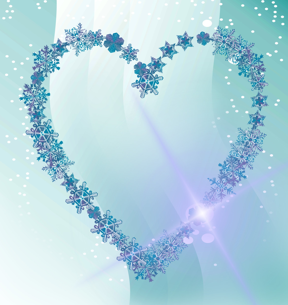 Blue Snowflake Heart Picture