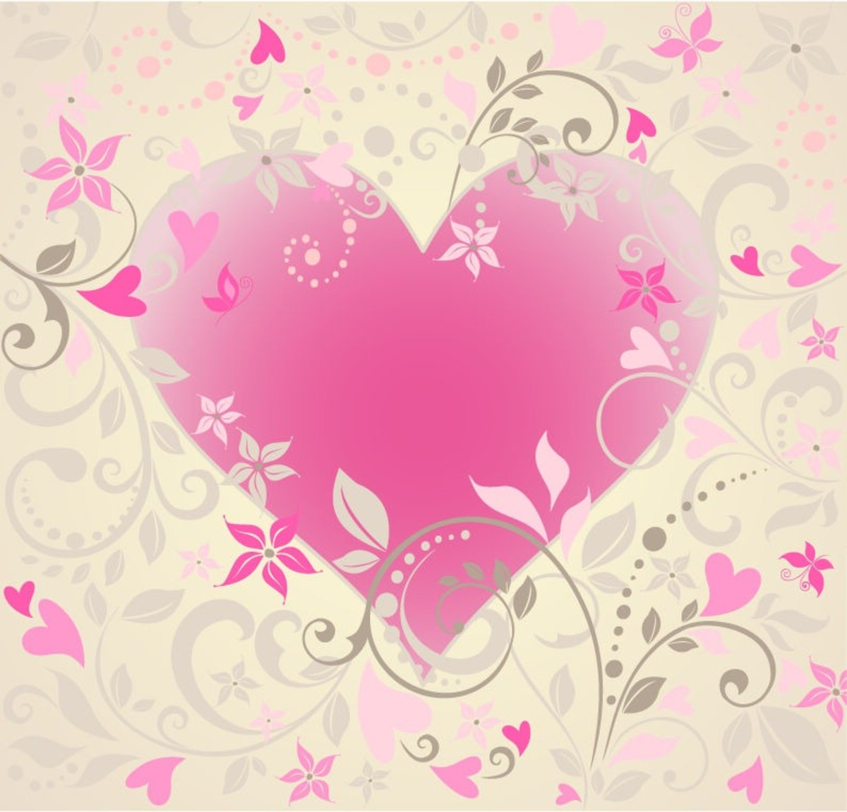 Pink Heart on Hearts Background