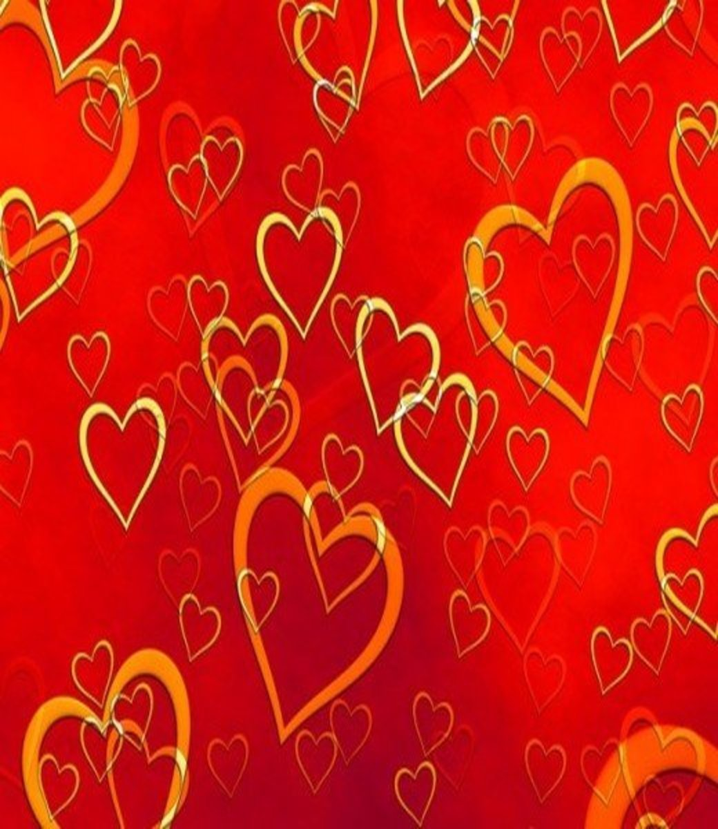 Hearts Pictures on Red Background