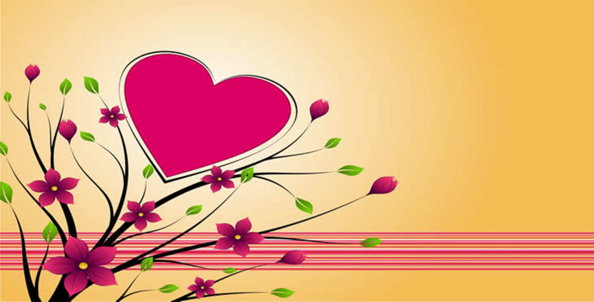Pink Heart and Flowers Graphic