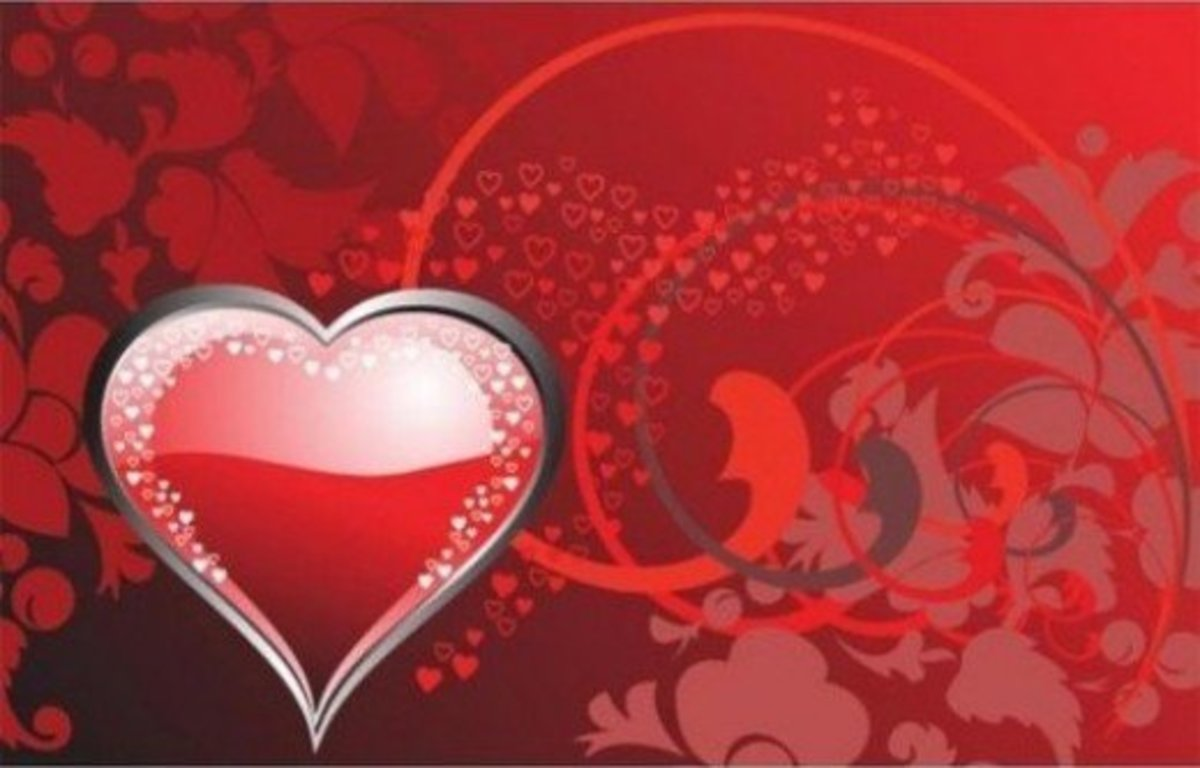Picture of Red Heart on Abstract Background