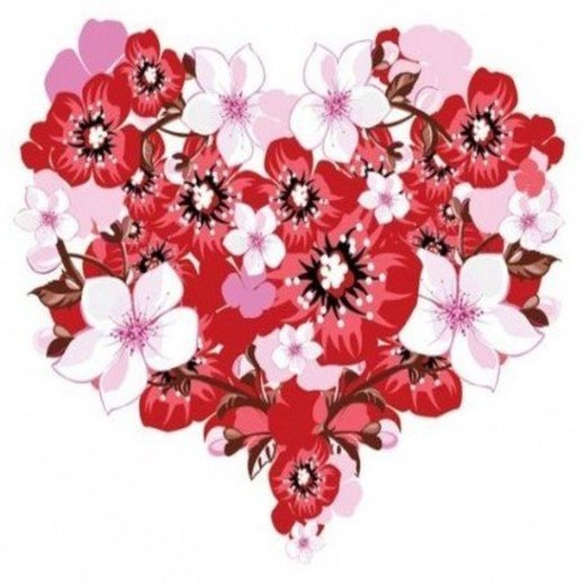 Pink and Red Flower Heart Picture