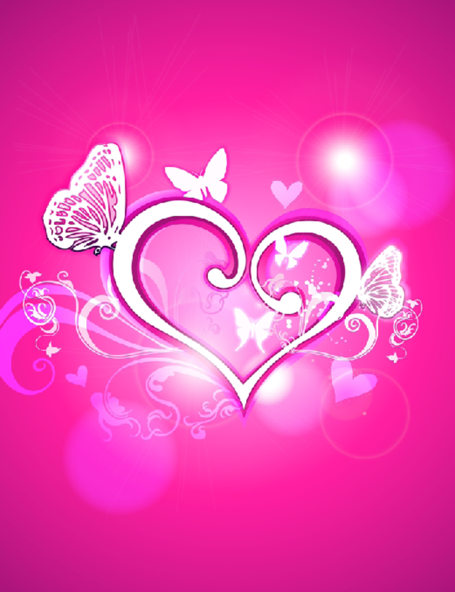 White Heart on Pink Background Image