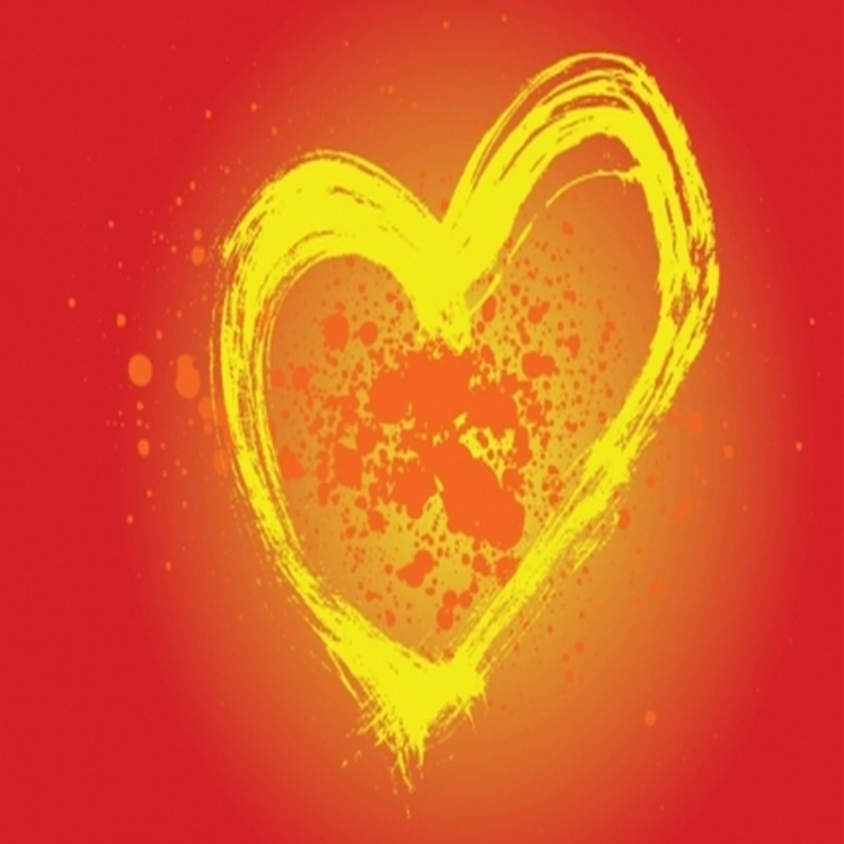 Yellow Heart on Red Background