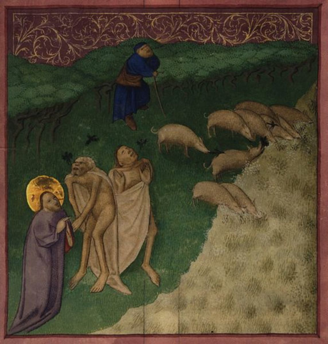 In this horrendous painting, Jesus watches as the demon pigs drown in the sea.