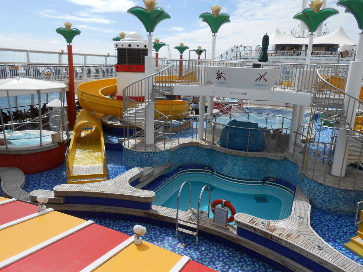 Water slides and one of the secondary pools onboard