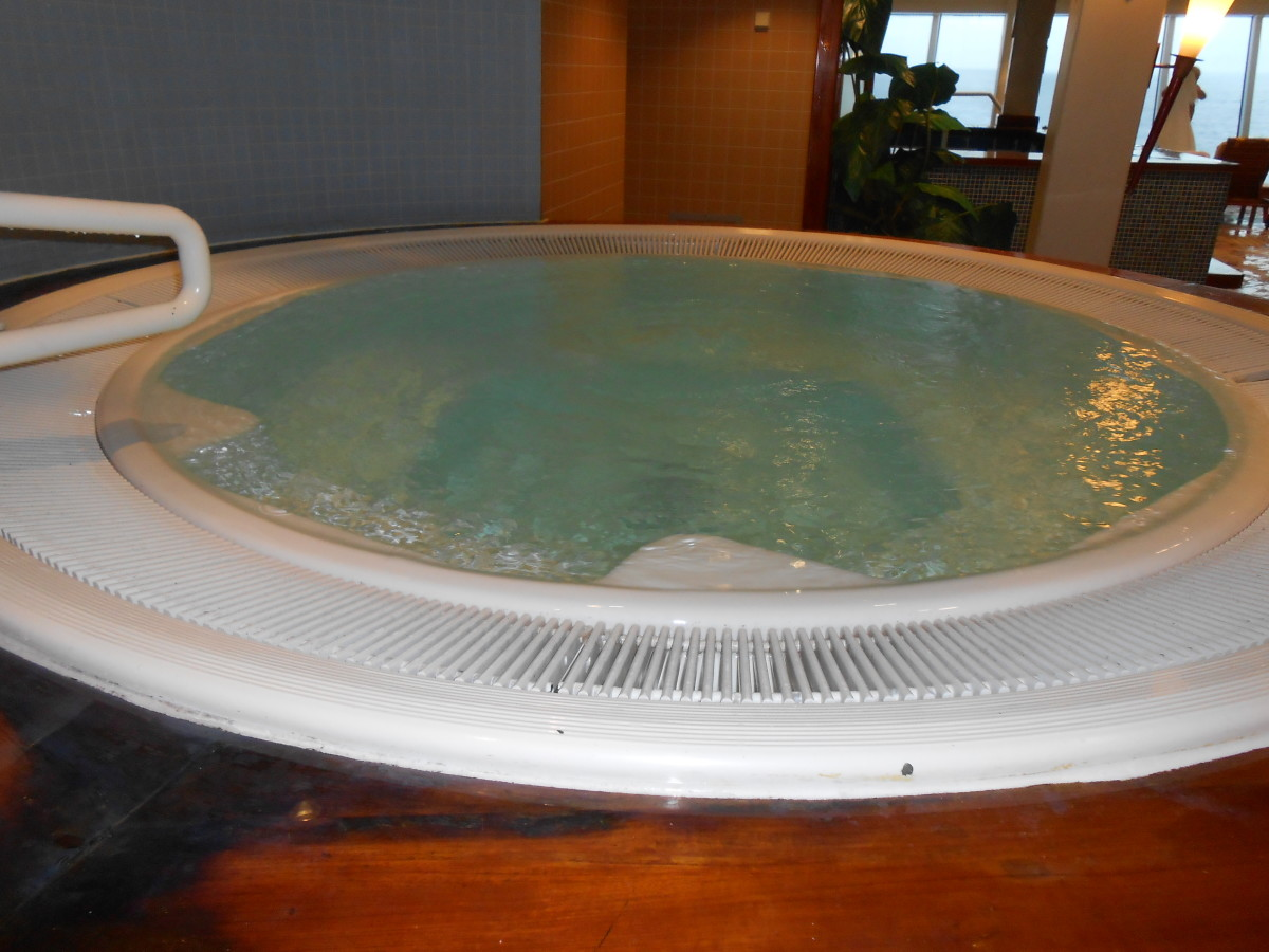 One of the hot tubs in the thermal spa