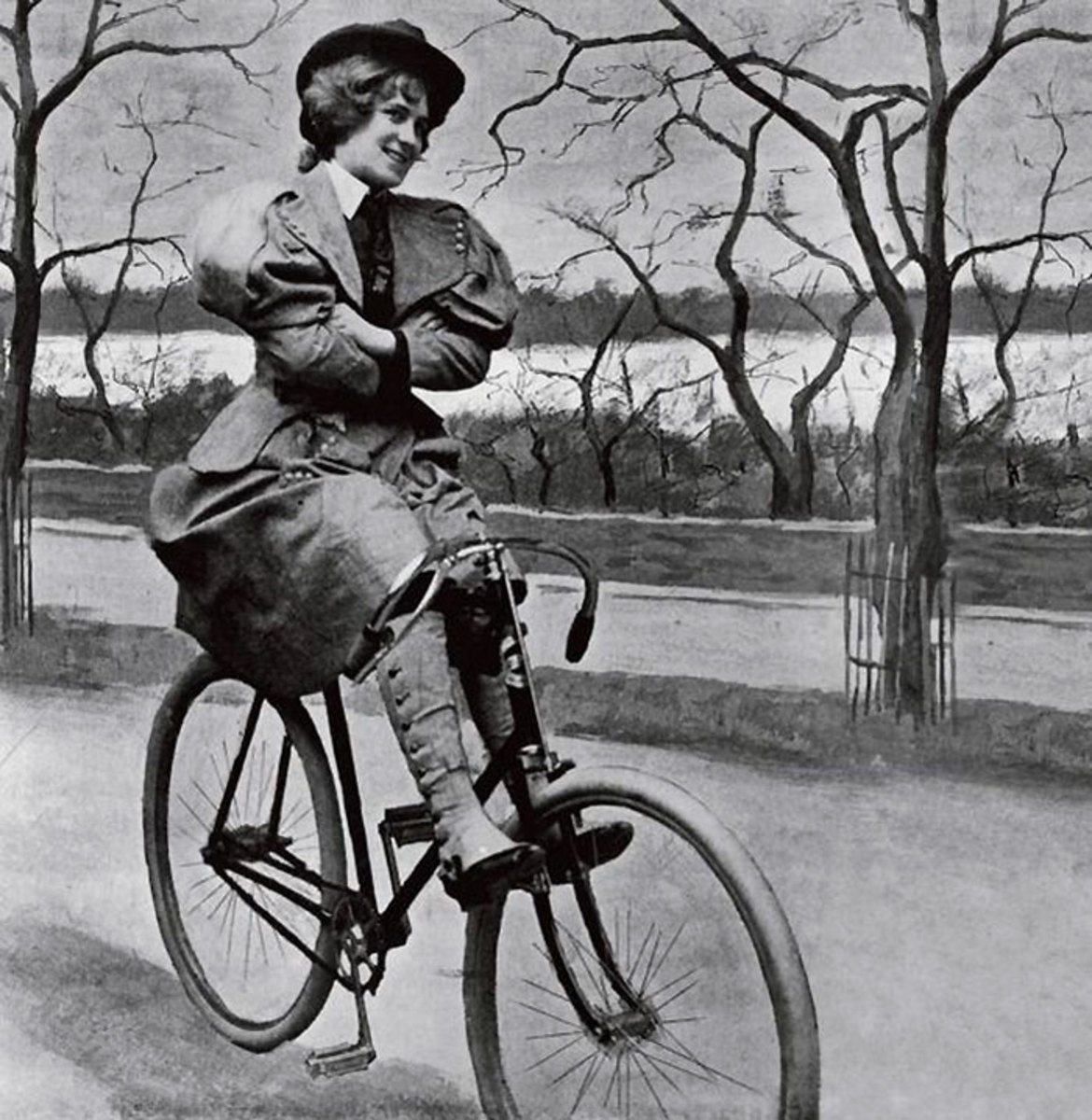 Funny Victorian lady riding a bicycle. Proof that not all old photos were so serious! lol!