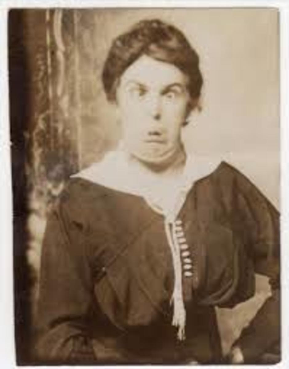 Funny Victorian woman pulling a face!