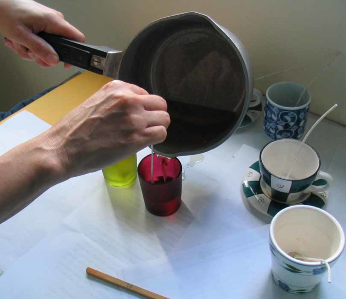 Pouring wax into a container