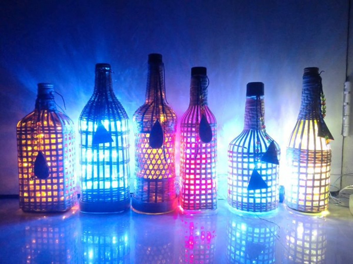 Lamps made from recycled alcohol bottles for Lamps made out of wine bottles