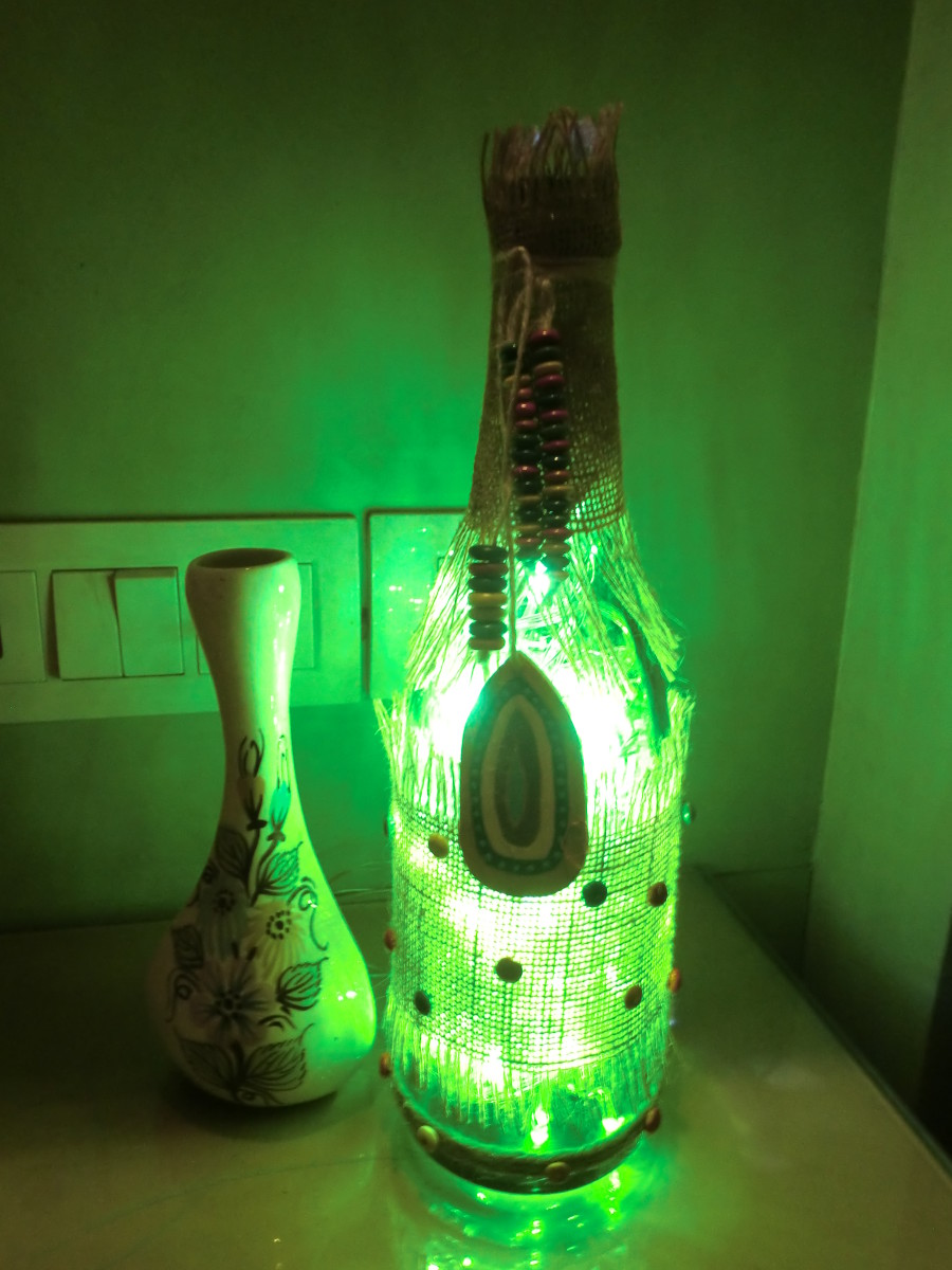 Alcohol Bottle-lamp in Burlap