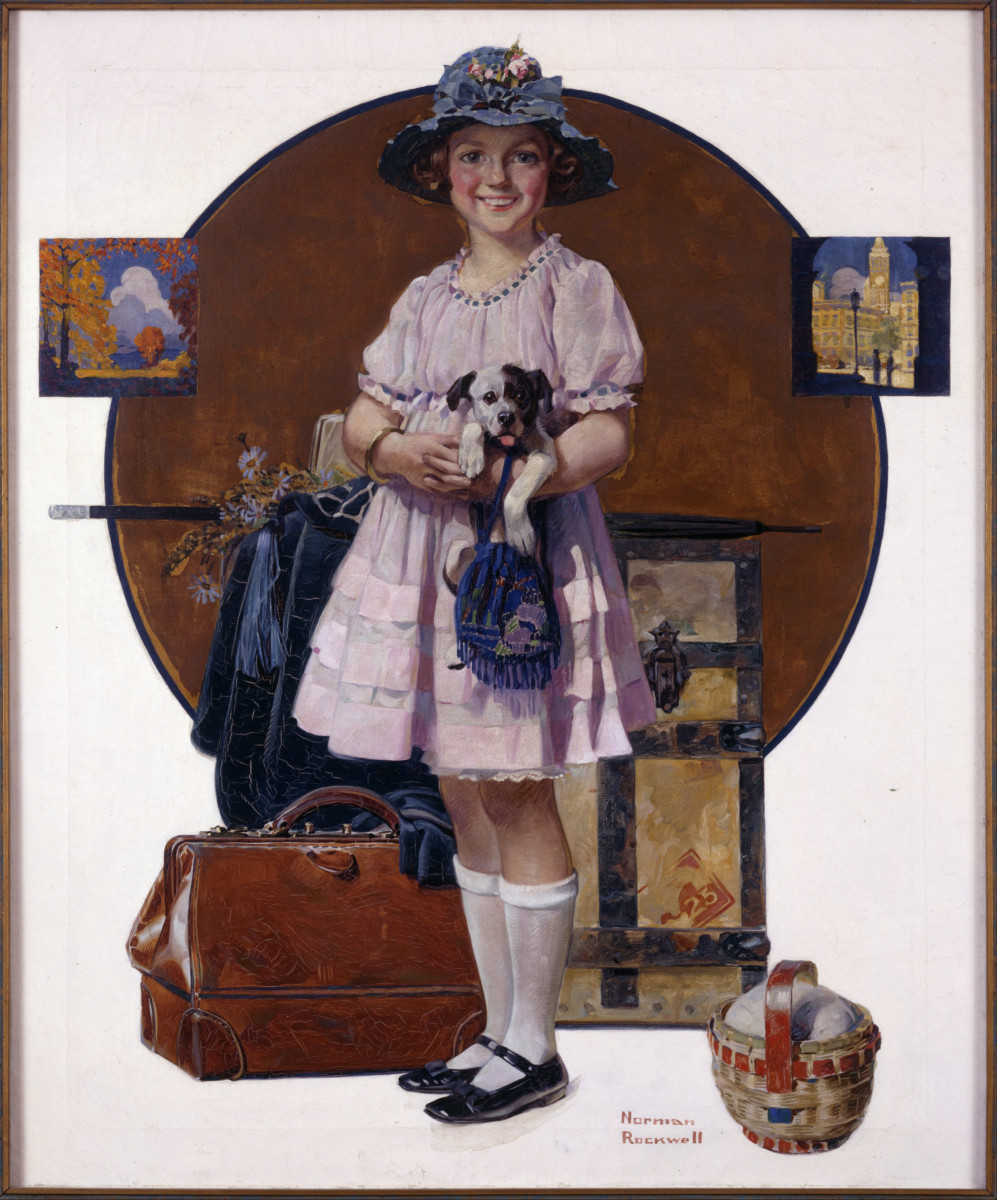 'Vacation's Over (Girl Returning from Summer Trip)' by Norman Rockwell (circa 1921)