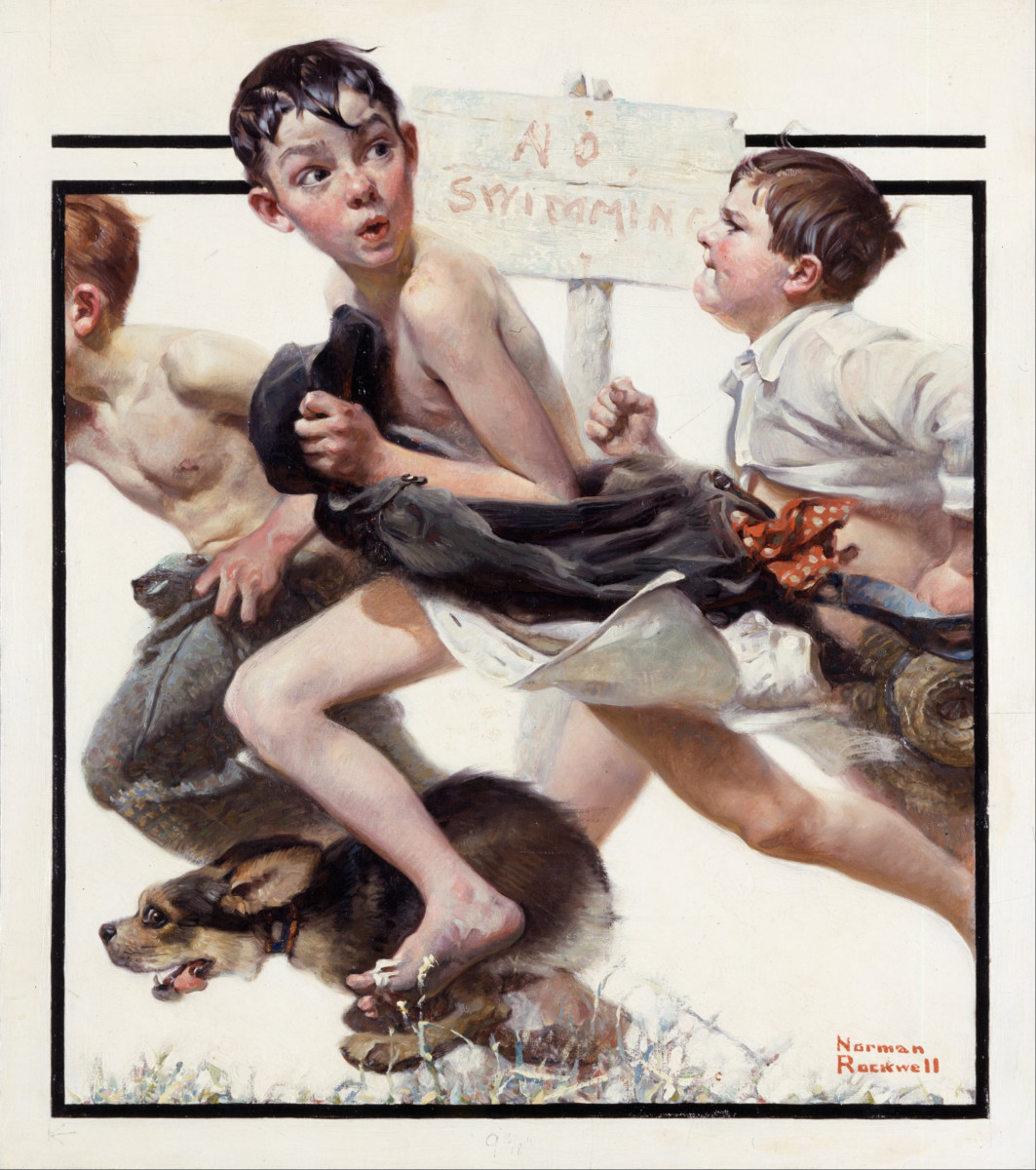'No Swimming' by Norman Rockwell (circa 1921)