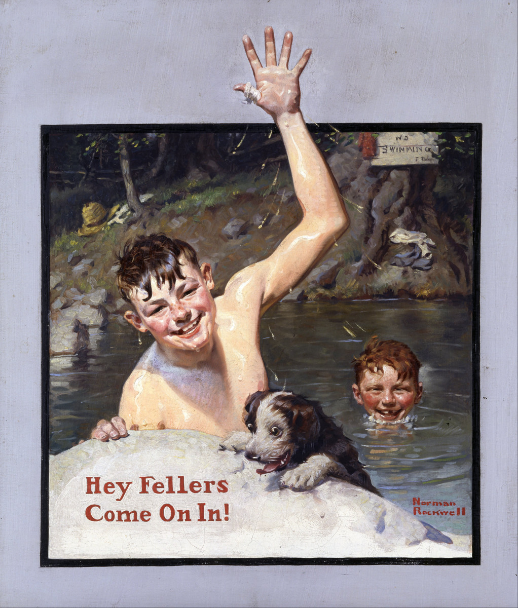 'Hey Fellers, Come On In!' by Norman Rockwell (circa 1920)