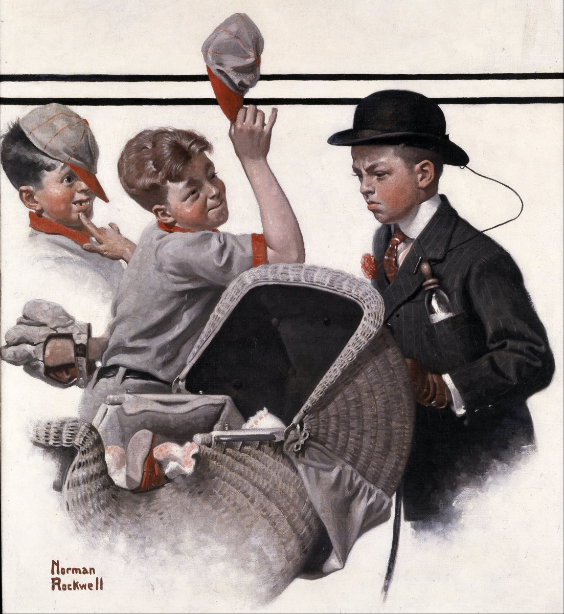 'Boy with Baby Carriage' by Norman Rockwell (circa 1916)