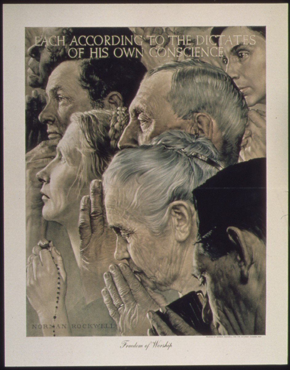 'Freedom of Worship' by Norman Rockwell (1943)