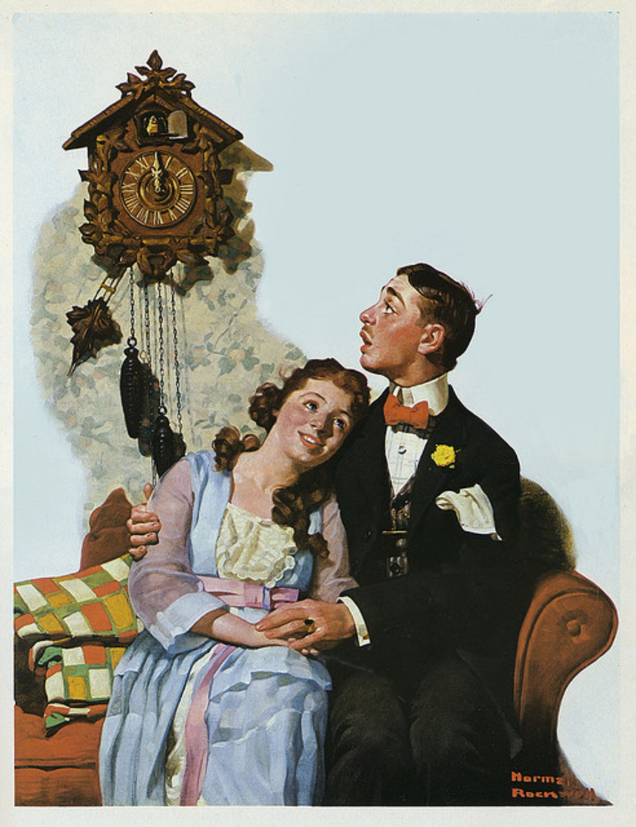 'Courting Couple at Midnight' by Norman Rockwell (circa 1919)