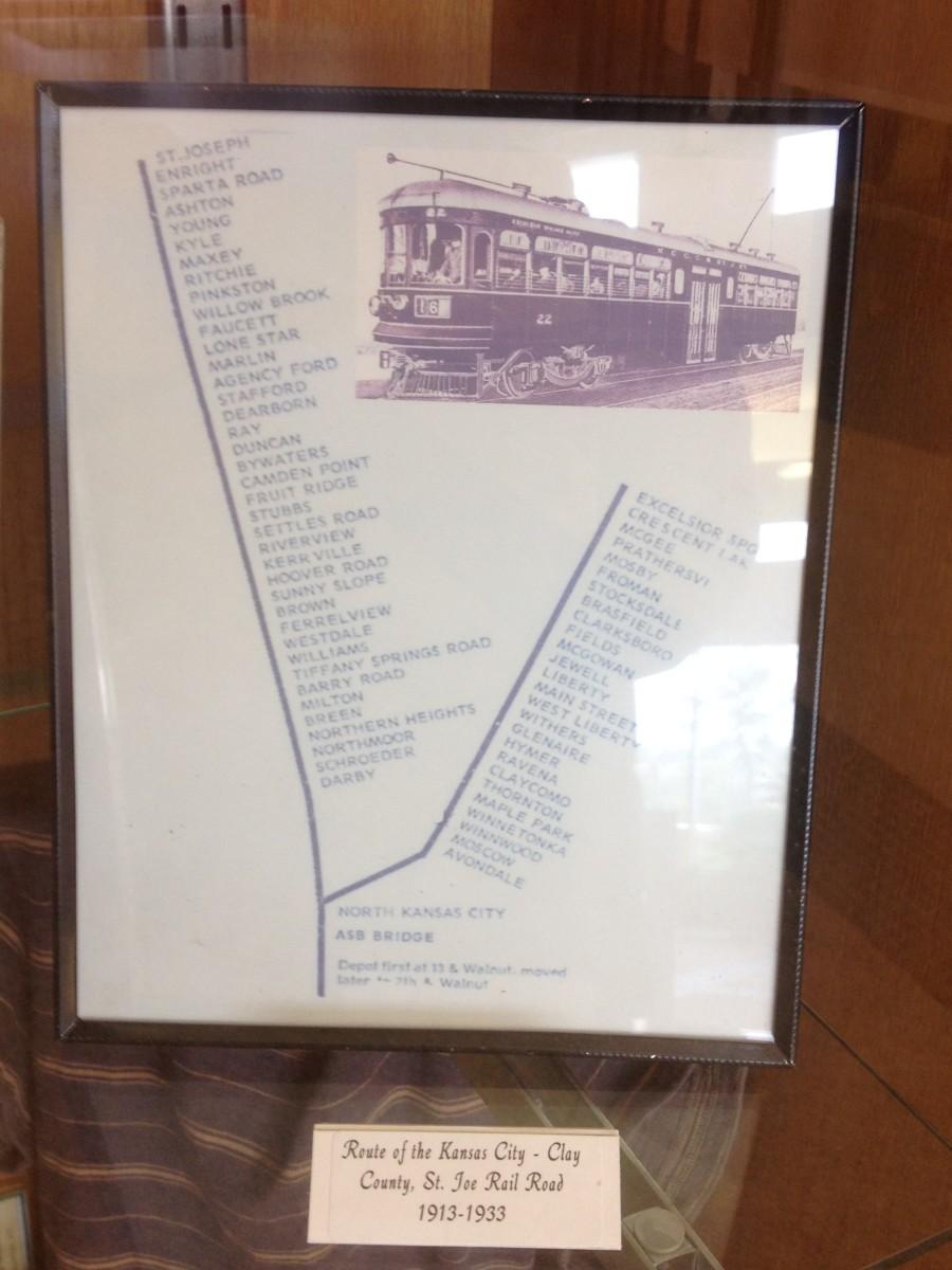Kansas City Clay County & St Joseph Rail Road stops.