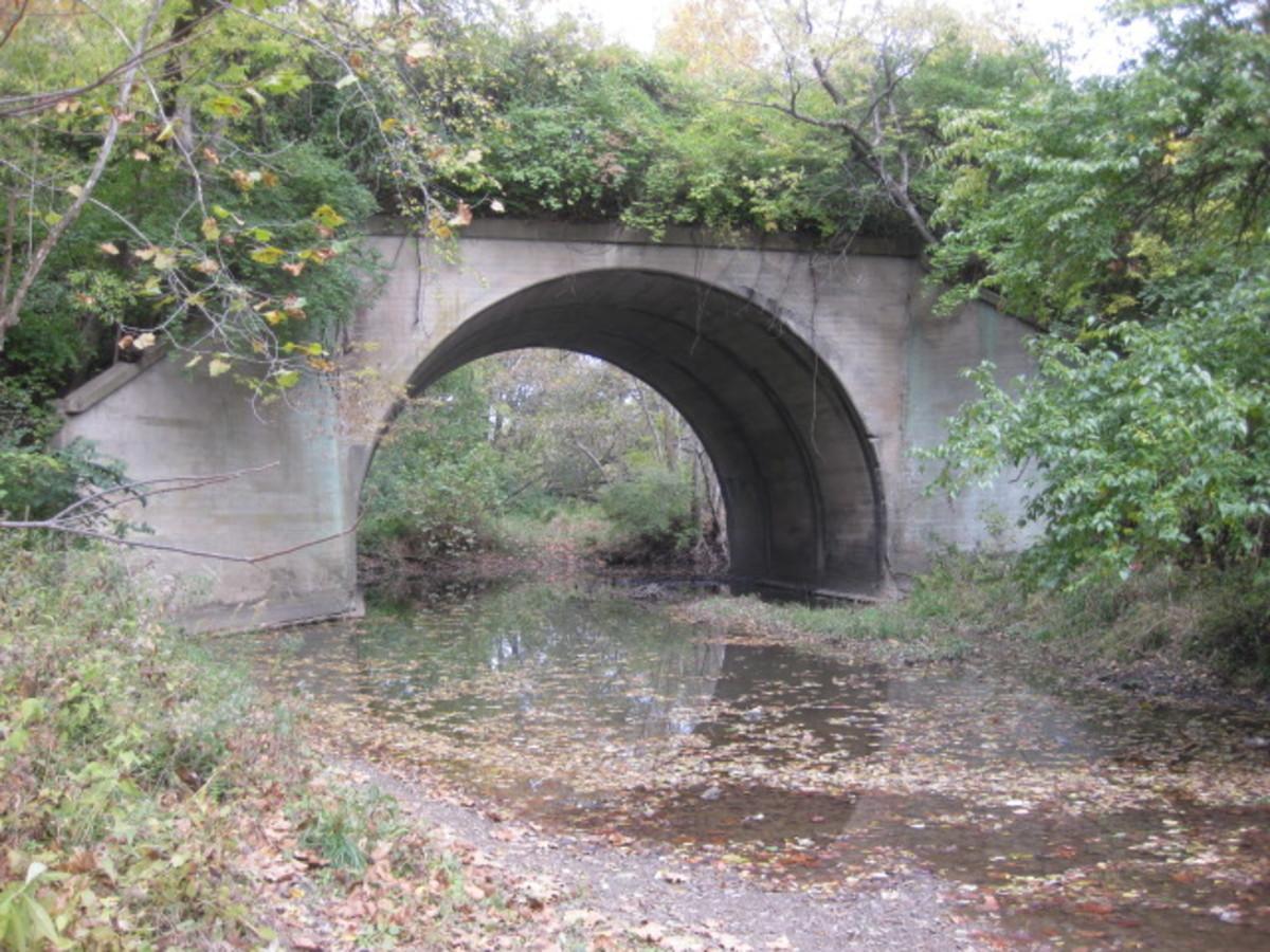"50 Foot Semi Circular ""McGowan Bridge"" crossing Rush Creek Martha Lafite Thompson"