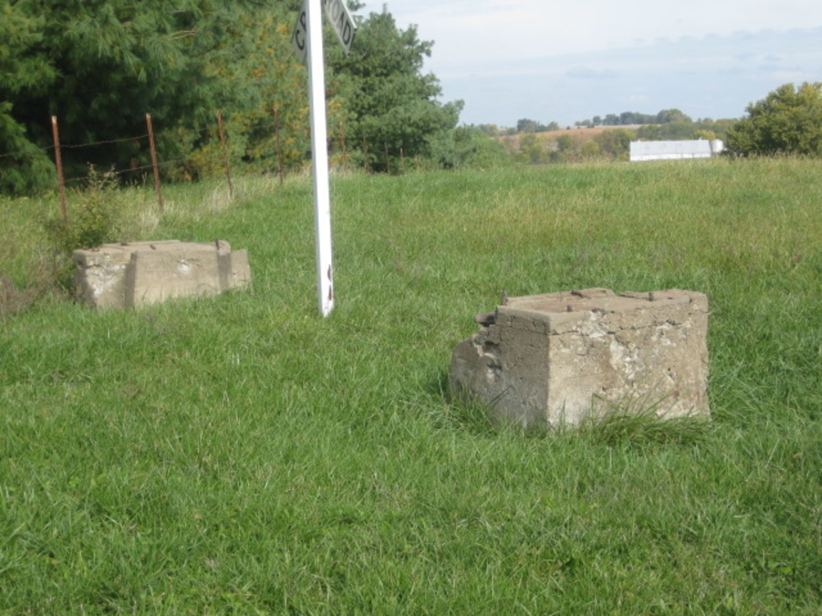 Opposed concrete power pole footings, Hwy H East of Liberty