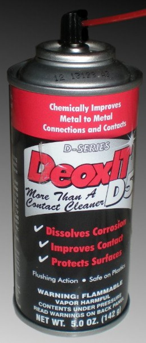 Deoxit makes many fine electronics sprays designed to clean and protect your equipment. D5 is what I usually use. There are other manufacturers of similar products.