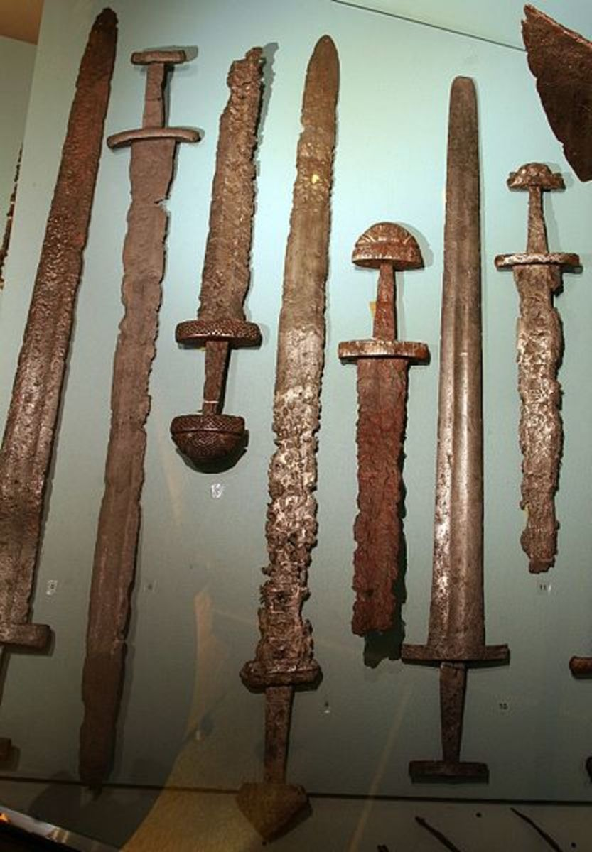 Viking swords displayed at the Bergen Museum