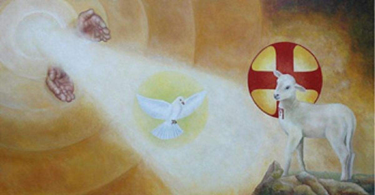 God the Father is depicted by the hands, God the Holy Spirit is depicted by the dove, and God the Son is depicted by the lamb.