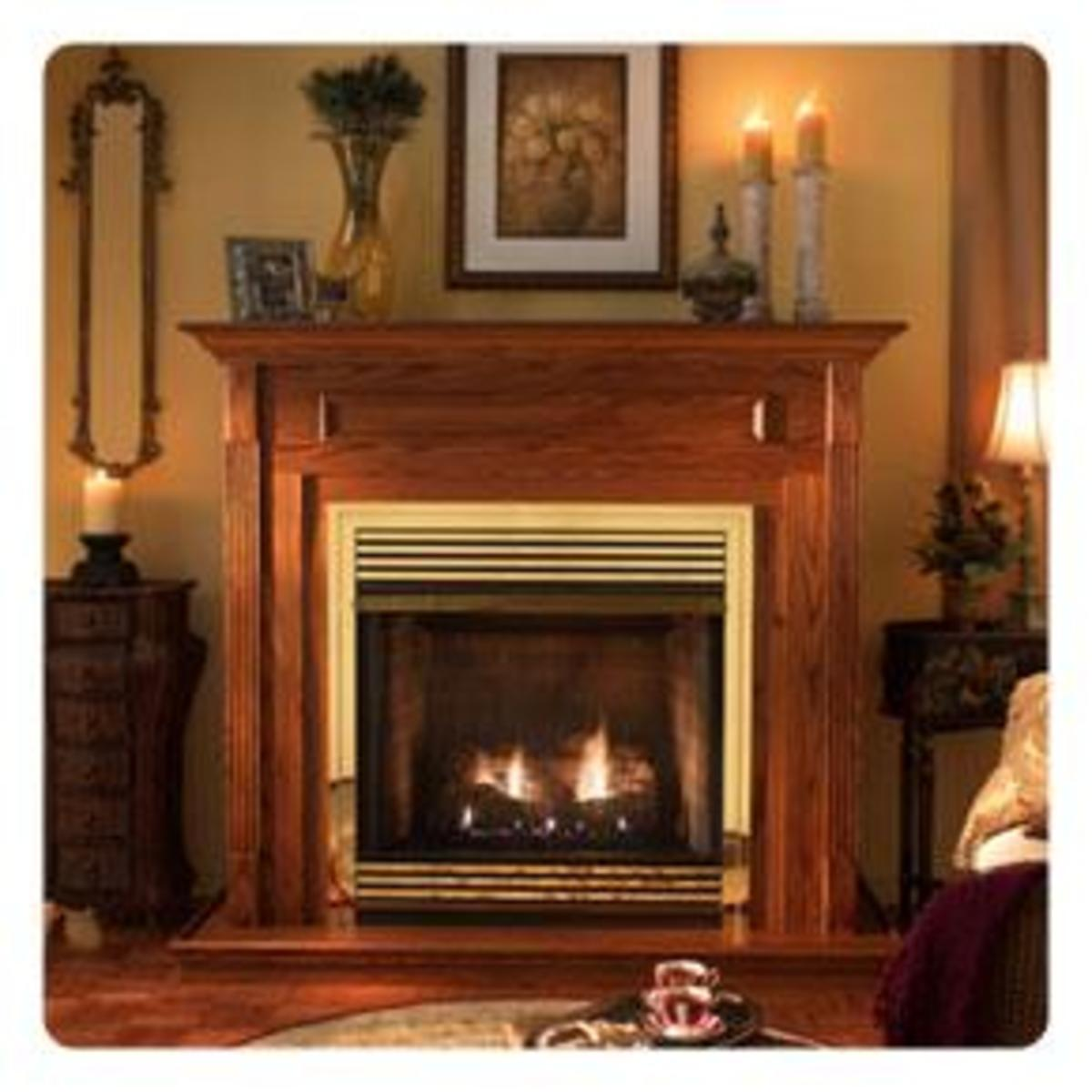 Vent-free gas fireplace with mantle.