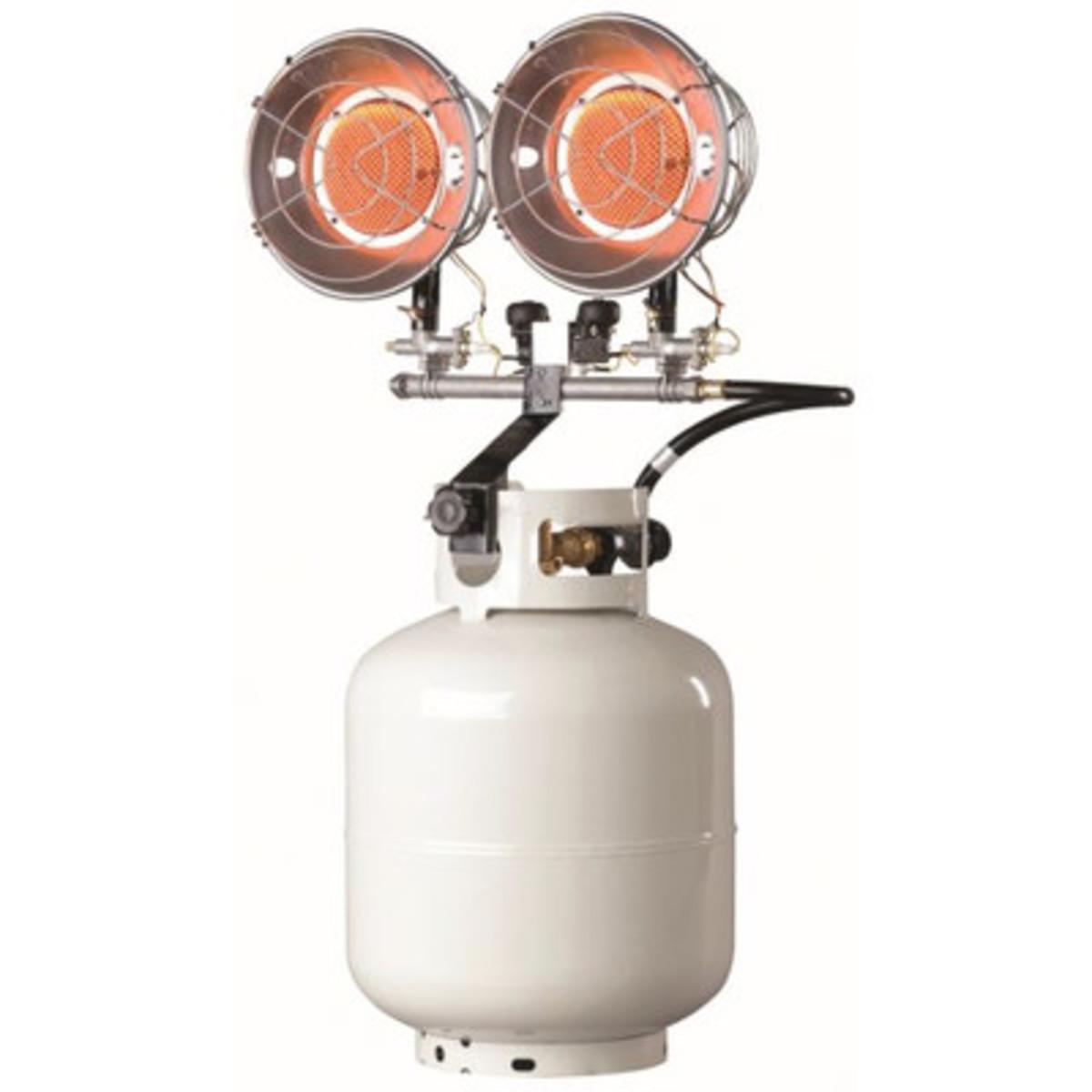 Propane space heater top-mounted to 20-pound propane tank