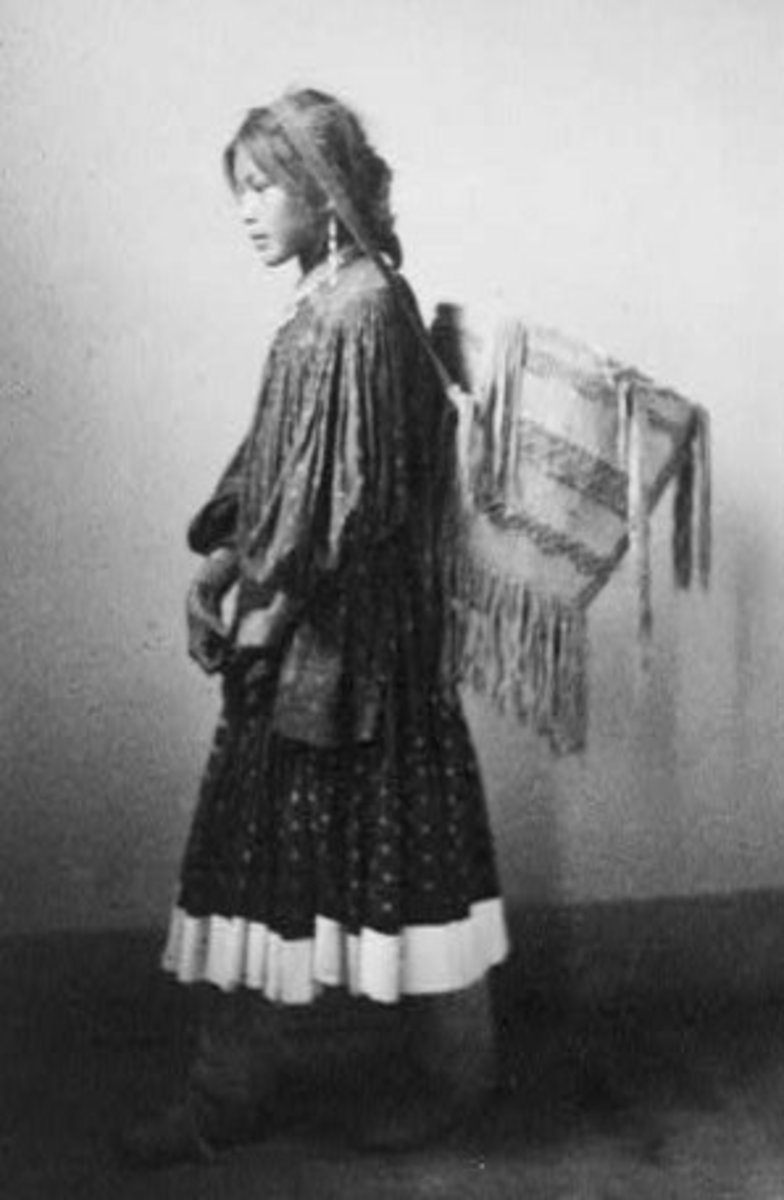 Apache girl with burden basket, 1902