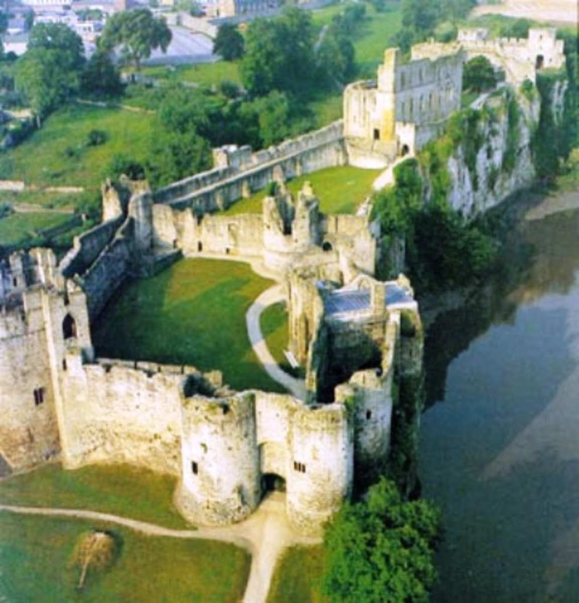 Chepstow Castle - Striguil - overlooks the River Severn before it enters the Severn Mouth near Bristol