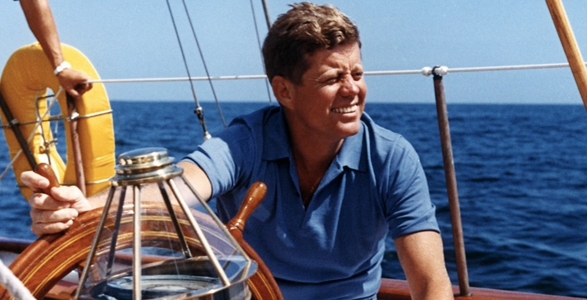 Congressman Jack Kennedy on his boat